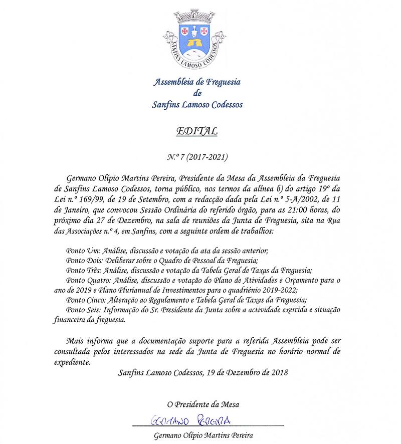 Assembleia da Freguesia de Sanfins Lamoso Codessos