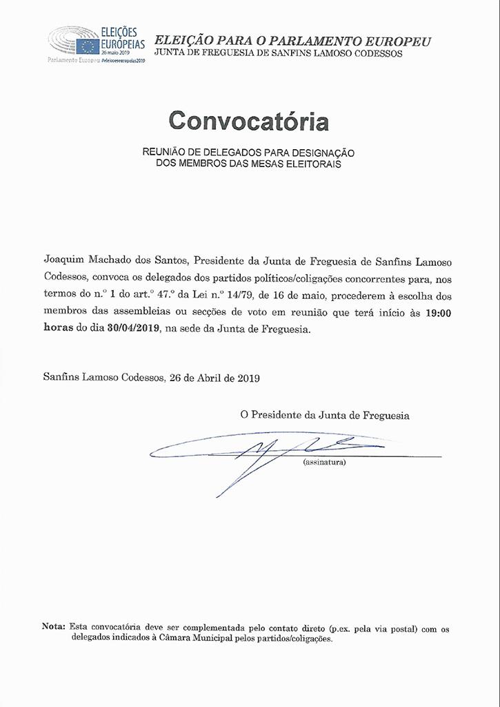 Convocatória os delegados dos partidos políticos/coligações