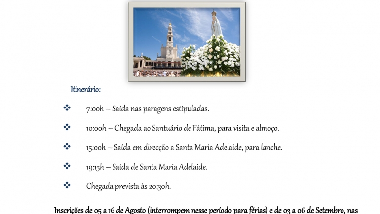 Visita ao Santuário de Fátima